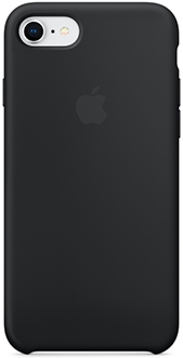 Black Apple Silicone iPhone 7/8 Case Back View