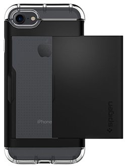 Black Spigen Crystal Hybrid - iPhone 7/8 Case Angled View
