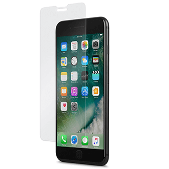 Clear Moshi Airfoil Glass - iPhone 6 Plus/6s Plus/7 Plus/8 Plus Screen Protector Black iPhone Side View