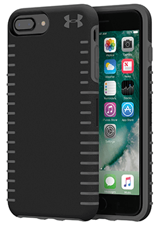 Black/Grey Under Armour Protect Grip - iPhone 6 Plus/6s Plus/7 Plus/8 Plus Case Angled View