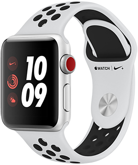 Silver 38mm Apple Watch Nike+ with Platinum/Black Band Angled View