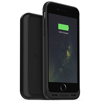 Black Mophie Juice Pack Wireless - Apple iPhone 6/6S - Front View