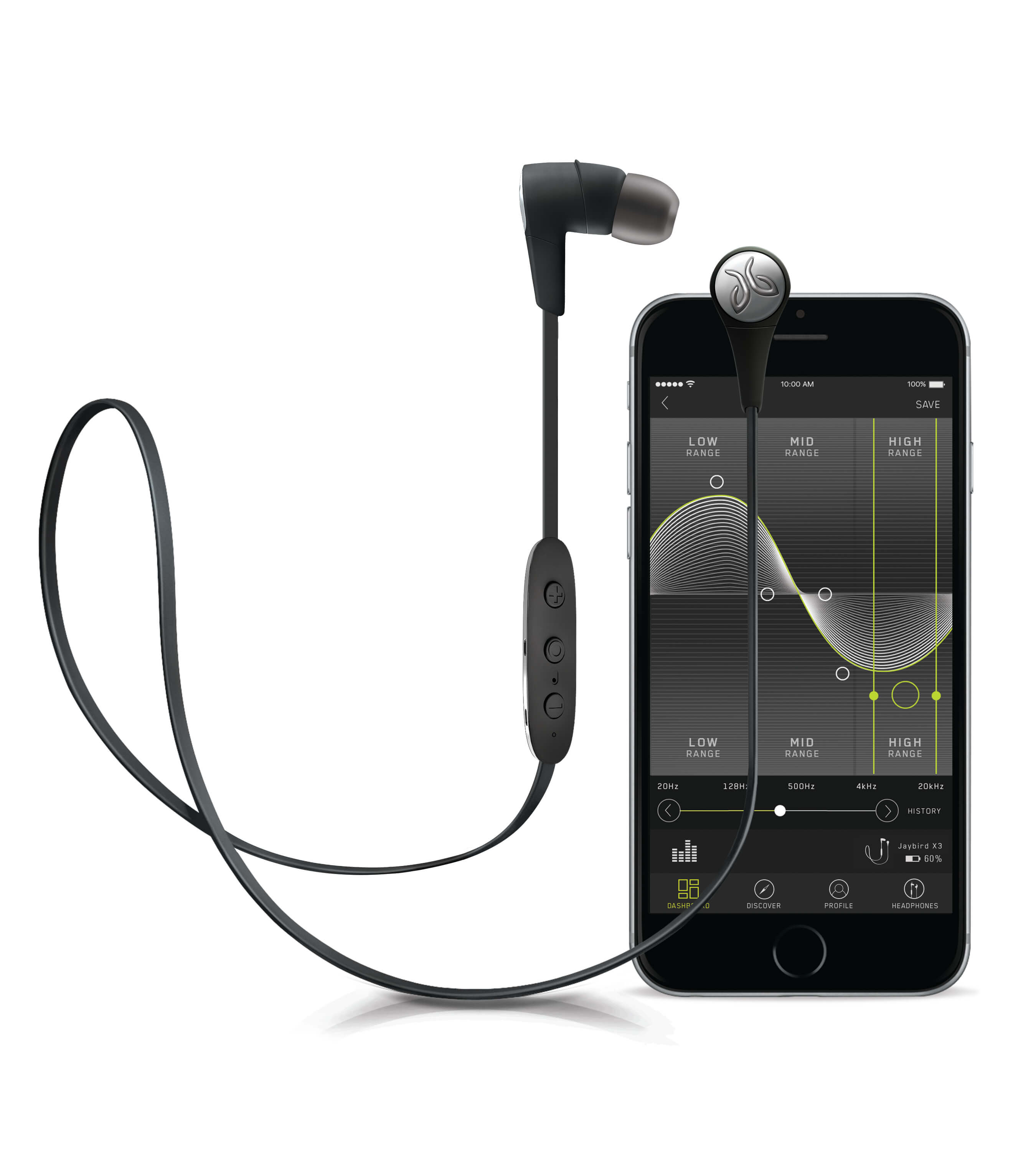 Blackout Jaybird X3 Sport Headphones Beside iPhone
