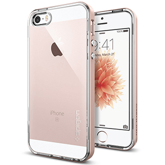 Rose Gold Spigen Neo Hybrid Crystal - Apple iPhone 5/5S/SE Case Back View