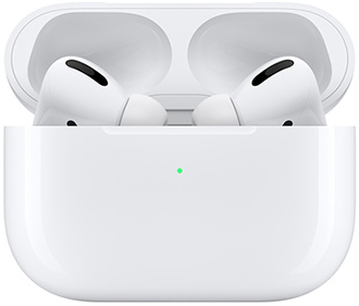 White Apple AirPods Pro in charging case peeking over edge