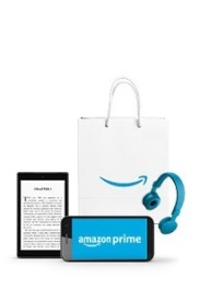 Amazon Prime Poster with Shopping bag, Kindle, Phone and Headphones