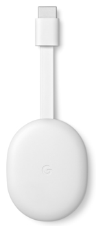 Front of white Google Chromecast with Google TV