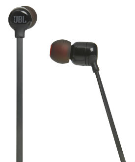Black T110 Wireless In-Ear Headphones Angled View