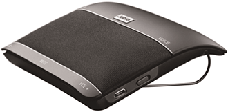 Black Jabra Freeway Speakerphone Horizontal Angled Side View