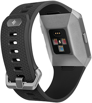 Charcoal/Smoke Grey Fitbit Ionic Watch Angled Back View