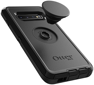 Black Otter + Pop Defender Galaxy S10 Case with PopTop Hovering Over Case