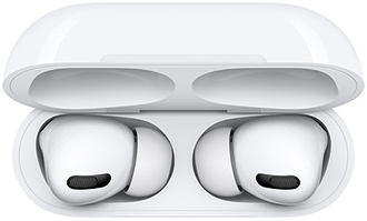 Top down view of white Apple AirPods Pro in charging case