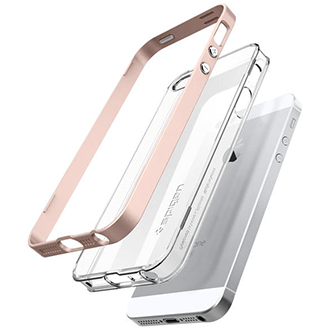 Rose Gold Spigen Neo Hybrid Crystal - Apple iPhone 5/5S/SE Case Angled View