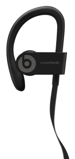 Black Powerbeats3 Earphones Ear Piece Close-Up Side View