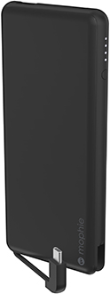 Angled Black Mophie Powerstation Plus USB-C 6000mAh with cable