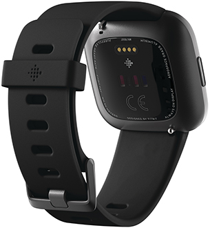Angled Black Fitbit Versa 2 Smartwatch Back