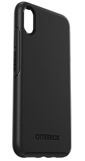 Black OtterBox iPhone Xs Max Symmetry Case Angled View