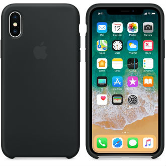 Black Apple Silicone iPhone X Case Front and Back View