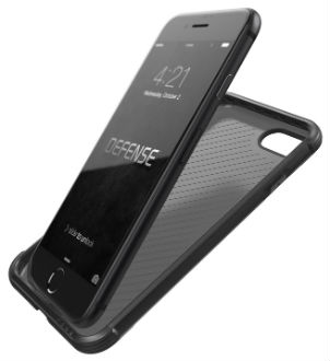 Carbon Fibre X-Doria Defence Lux iPhone 8 Plus Case Angled Close-Up