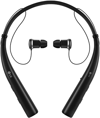 Black LG Tone Pro Headset Front View with Headphones
