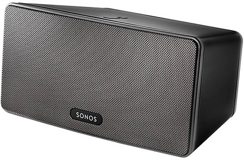 Black Sonos PLAY:3 Speaker Angled Front View