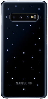 Blue Black Samsung Galaxy S10+ LED Back Cover with lights illuminated
