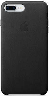 Black Apple Leather iPhone 7 Plus/8 Plus Case Back View