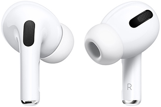 Close up of white Apple AirPods Pro earbuds