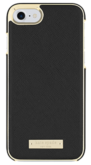Black Saffiano kate spade Inlay Wrap - iPhone 7/8 Case Back View