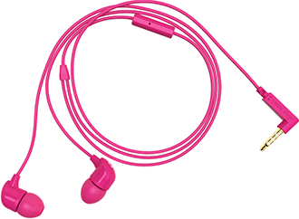 Cerise Happy Plugs In-Ear Headphones Coiled Up