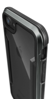 Black X-Doria Defence Shield iPhone 7/8 Case Angled Close-Up