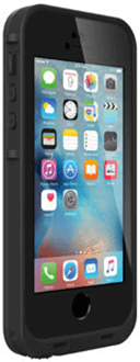 Black LifeProof FRĒ iPhone 5/5S/SE Case Angled Front View