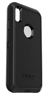 Black OtterBox iPhone Xs Max Defender Case Angled View