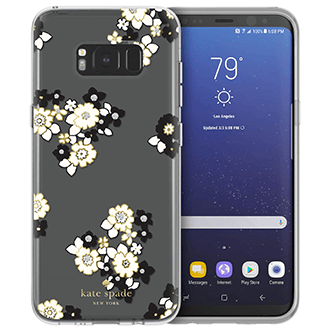 Floral Burst/Clear Kate Spade Galaxy S8 Plus Hardshell Case Front and Back View