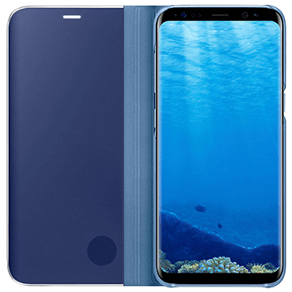 Blue Samsung Clear View Standing Cover - Galaxy S8