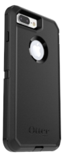 Black Otterbox iPhone 8 Plus Defender Case Angled Back View