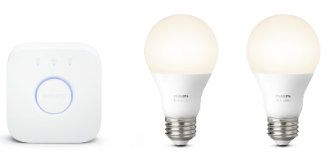 Angled View of Philips Hue White A19 Smart Light Bulb Starter Kit
