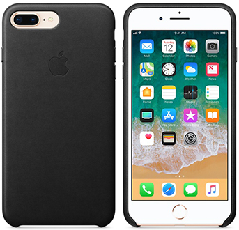 Black Apple Leather iPhone 7 Plus/8 Plus Case Front and Back View