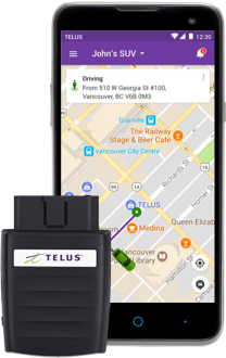 TELUS Drive+ Device Next to Device with App