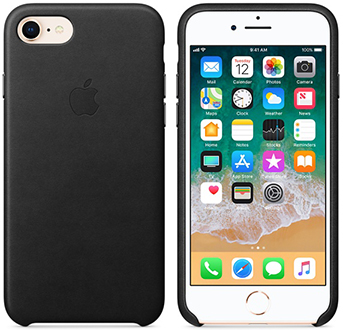 Black Apple Leather iPhone 7/8 Case Front and Back View