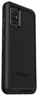 Angled Black OtterBox Galaxy A51 Defender Case Back
