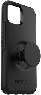 Angled Black Otter + Pop Symmetry iPhone 11 Pro Case with PopTop Extended