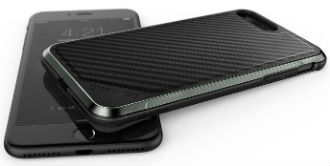 Carbon Fibre X-Doria Defence Lux iPhone 8 Plus Case Front and Back View