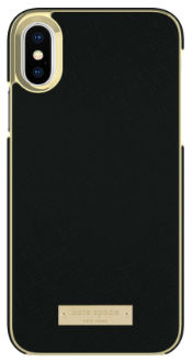 Black Saffiano kate spade Inlay Wrap - iPhone X Case Back View
