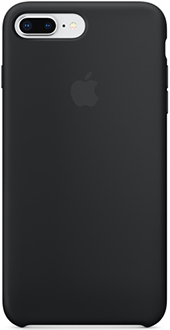 Black Apple Silicone iPhone 7 Plus/8 Plus Case Back View