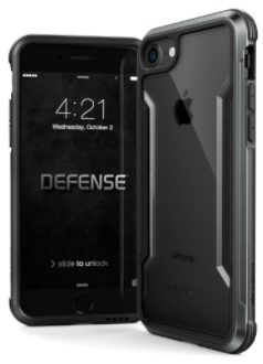Black X-Doria Defence Shield iPhone 7/8 Case Front and Back View