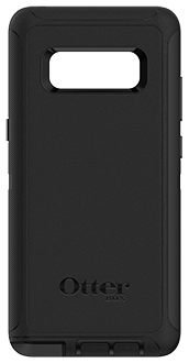 Black Otterbox Galaxy Note8 Defender Case Back View
