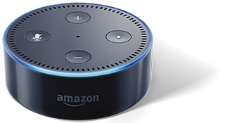 Black Amazon Echo Dot with Lights Top Front View