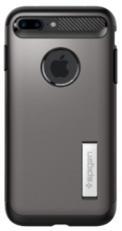 Gunmetal Spigen Slim Armor - Apple iPhone 7 Plus/8 Plus Case Back View