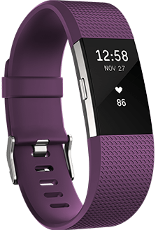 Plum Fitbit Charge 2 Angled View
